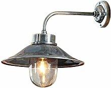 Loberon Außenwandlampe Reno, Messing, Glas, H/B/T