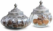 Loberon Dose 2er Set Osayi, Glas, Aluminium,