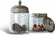 LOBERON Glasdose 2er Set Laurnena, Küchen-Accessoires, Aufbewahrung, klar/silber
