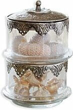 LOBERON Glasdose Leesha, klar/silber (16cm)