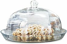 Loberon Glasglocke mit Platte Gâteau, Glas, H/Ø