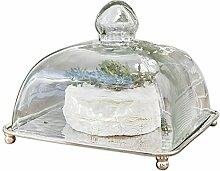 Loberon Glasglocke mit Platte Henri, Glas/Messing,