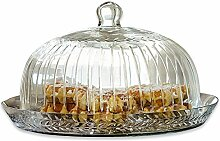 Loberon Glasglocke mit Platte Layla, Glas, H/Ø