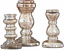 Loberon Kerzenständer 3er Set Semilly, Windlicht,