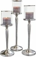 LOBERON Kerzenständer 3er Set Serres, silber/klar