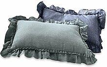 Loberon Kissen 2er Set Maelys, Wohn-Accessoires, Bezug: 100% Leinen, LxB ca. 40x60 cm, blau/grau