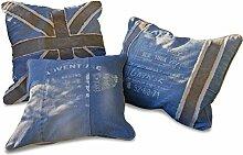 Loberon Kissen 3er Set Celestina, Wohn-Accessoires, 100% Baumwolle, LxB ca. 50x50 cm, blau