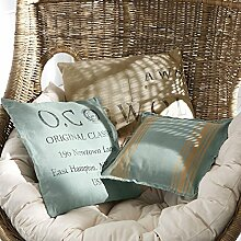 LOBERON Kissen 3er Set Rolin, Wohn-Accessoires, Obermaterial: 100% Baumwolle, LxB ca. 50x50 cm, blau/beige