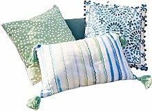 LOBERON Kissen 3er Set , Wohn-Accessoires, 100% Baumwolle, LxB ca. 30x50 cm, blau/weiß