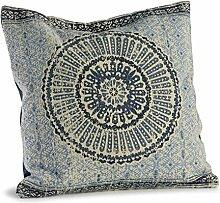 Loberon Kissen Kelcie, Wohn-Accessoires, 100% Baumwolle, LxB ca. 50x50 cm, creme/blau/schwarz