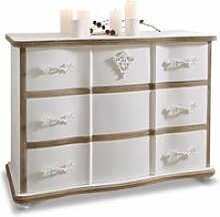 LOBERON Kommode Lomont, weiß/braun (45 x 110 x