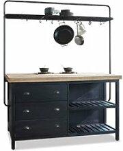 LOBERON Küchenblock Anett, schwarz/braun (92 x