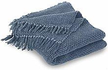 Loberon Plaid Kendall, Wohn-Accessoires, 100% Baumwolle, LxB ca. 170x130 cm, blau