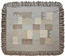 LOBERON Quilt Labastide, Wohn-Accessoires, Patches aus 100% Baumwolle und 100% Leinen, LxB ca. 260x240 cm, grau/beige