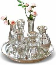 LOBERON Tablett mit Vasen Blairville, antiksilber