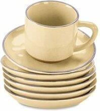 LOBERON Tasse mit Untertasse 6er Set Biarré, gelb