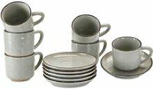 LOBERON Tasse mit Untertasse 6er Set Biarré, grau
