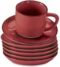 LOBERON Tasse mit Untertasse 6er Set Biarré, rot