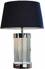 Loberon Tischlampe Hillford, Baumwolle, Glas,