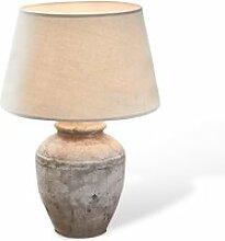 LOBERON Tischlampe Mosnay, weiß/antikgrau