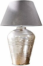 Loberon Tischlampe Sybell, Messing/Baumwolle, H/Ø