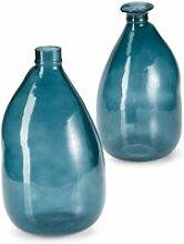 LOBERON Vase 2er Set Andrina, blau (32cm)