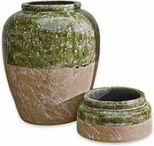 LOBERON Vase 2er Set Miranda, grün/braun