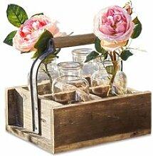 LOBERON Vase 4er Set mit Korb Reverie, braun/klar