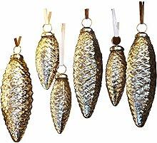 LOBERON Weihnachtliche Vintage-Dekoration Bondon, 6 Tannenzapfen, mit Metall-Ösen, antiksilber