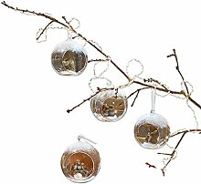 Loberon Weihnachtsschmuck 4er Set Animals, Glas,