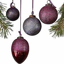 Loberon Weihnachtsschmuck 4er Set Ilva, Glas, lila