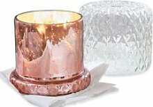 LOBERON Windlicht mit Kerze Touvois, rosa/klar