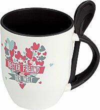 Löffeltasse Beste Freundin der Welt - Motiv Herz - Namestasse, Kaffeebecher mit Namen, Mug, Becher, Kaffeetasse - Farbe Schwarz