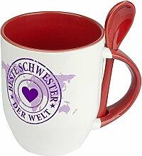 Löffeltasse Beste Schwester der Welt - Motiv Weltkarte - Namestasse, Kaffeebecher mit Namen, Mug, Becher, Kaffeetasse - Farbe Ro