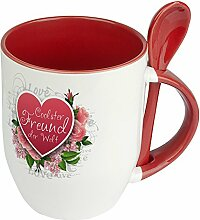 Löffeltasse Coolster Freund der Welt - Motiv Herz - Namenstasse, Kaffeebecher, Mug, Becher, Kaffeetasse - Farbe Ro