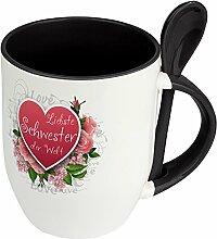 Löffeltasse Liebste Schwester der Welt - Motiv Herz - Namenstasse, Kaffeebecher, Mug, Becher, Kaffeetasse - Farbe Schwarz