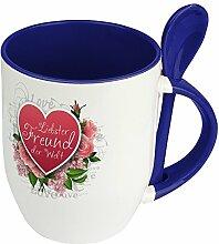 Löffeltasse Liebster Freund der Welt - Motiv Herz - Namenstasse, Kaffeebecher, Mug, Becher, Kaffeetasse - Farbe Blau
