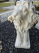 Löwe auf Podest XL 75 cm hoch wetterfest Gartenfigur Statue Gartendeko Löwen Statue Löwenskulptur frostfest wetterfest handbemalt antikweiß