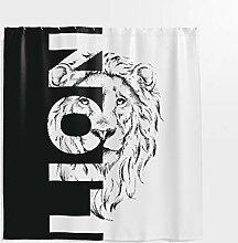 Löwe Duschvorhang,Tier Muster mit Spruch Lion