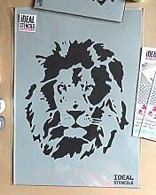 Löwe Gesicht außenschablone. Heim Dekoration & Basteln außenschablone. Farbe Löwe auf Wände Stoff & Möbel wiederverwendbar ideal Stencils LTD