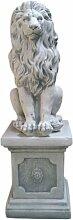 Löwe mit Sockel, Skulptur aus Steinguss, Figur