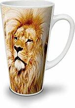 Löwe Tier Foto Tier Weiß Keramisch Latte Becher 17 oz | Wellcoda