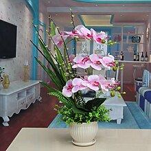 LOF-fei Künstliche Blume Orchid silk Blume der Esstisch Zubehör Home Dekoration Pink Keramik Blumentöpfe