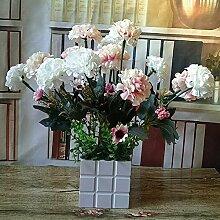 LOF-fei Künstliche Blume orchid silk Flower Pot home Dekoration Esstisch Zubehör rosa Weichholz Becken ein