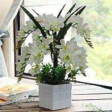 LOF-fei Künstliche Blume Phalaenopsis Esstisch Zubehör Wohnkultur Seide,weiß Holz Blumentopf