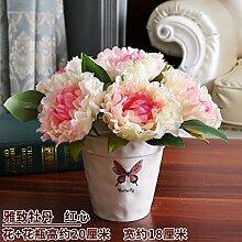 LOF-fei Künstliche Blume Rose Esstisch Zubehör Home Decor Seide,rosa Keramik vase EIN