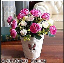 LOF-fei Künstliche Blume Rose Esstisch Zubehör Home Decor Seide,die rot weiß Keramik Vase