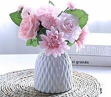 LOF-fei Künstliche Blume Rose Home Decor bonsai Esstisch Zubehör Seide s,rosa Keramik vase EIN