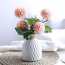 LOF-fei Künstliche Blume Rose Home Decor bonsai Esstisch Zubehör Seide s und orange Keramik Vasen
