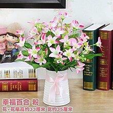 LOF-fei Künstliche Blume Rose Home Decor Seide Esstisch Zubehör,rosa Keramik vase B